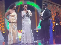 McBrown on stage with Grace Omaboe at Ghana Movie Awards 2016