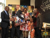 President Akufo-Addo being presented with a gift by members of the Ghanaian community in Worcester