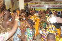 Members dressed traditional to worship God on Sunday