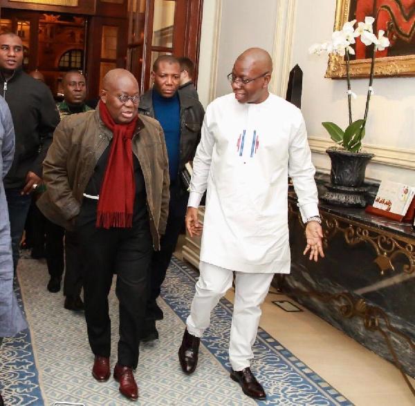 President Akufo-Addo interacting with NPP UK Chairman, Kwaku Nkansah Paanii