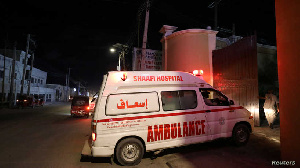 An ambulance carrying an injured person from an attack by Al Shabaab gunmen
