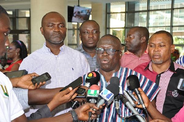 Albert Abongo addreesing media