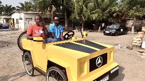 The paddle car built by Joseph Korley Tetteh
