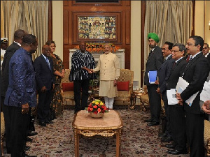 Mahama in a meeting with Indian Prime Minister, Shri Narendra Modi, at the Hyderabad House in India