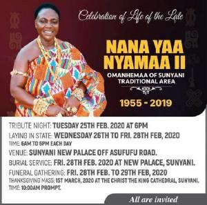 Nana Yaa Nyamaa Poduo II will buried over the weekend