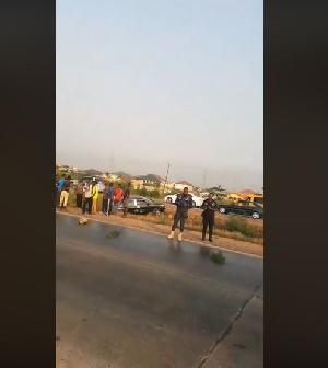 oil spillage causing accident on Tema Motorway