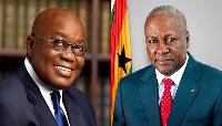 President Nana Addo Dankwa Akufo-Addo (L), former president John Dramani Mahama (R)