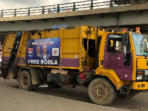 A photo of the waste collection truck positioned at the Kwame Nkrumah Circle