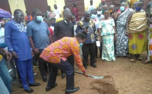 Minister of State In-charge of Tertiary Education, Professor Kwesi Yankah in a sod cutting ceremony