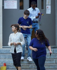 Abraham Attah with other casts on set of Spiderman: Homecoming