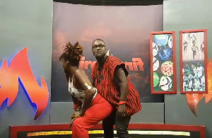 Ebony twerking with Songo man in the studios of Fire for Fire