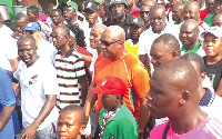 Former President Mahama, some NDC executives with some supporters during one of their unity walks