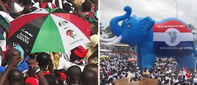 NDC rally (L), NPP rally (R)