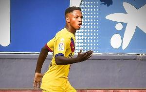 Ansu scored for Barcelona against Inter Milan