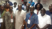 Former President Mahama with some leading members of the NDC and delegates