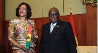 Nana Addo Dankwa Akufo-Addo, President of Ghana poses with EC boss Jean Mensa