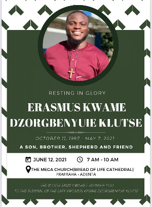 Erasmus Klutse will be buried on June 12