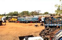 Trucks at the Paga border lorry park