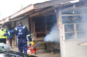 Disinfection exercise being carried out