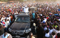 NPP Flagbearer takes his campaign to Nkawkaw in the Eastern Region