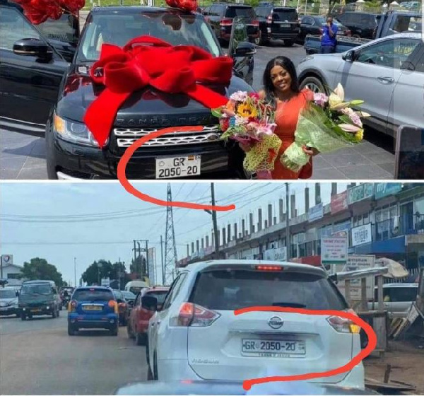 The car gifted to Nana Aba Anamoah had the same number plate with a Nissan Rogue Sports Utility car