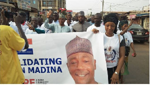 Alhaji Abubakar Saddique Boniface campaigns at the constituency