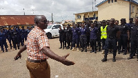 KMA Boss Osei Assibey speaking to personnel of the security agencies