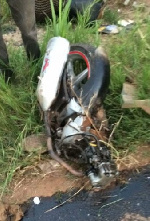 Two mourners on motorbike crushed to death at Buduatta Junction