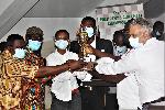 Nigerian Onokpite Kennedy (third from left) won the title