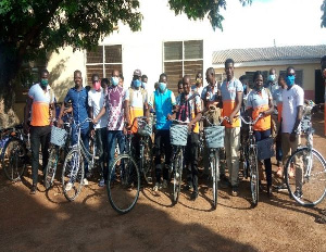 The items included 20 bicycles, 20 school bags, T-shirts among others