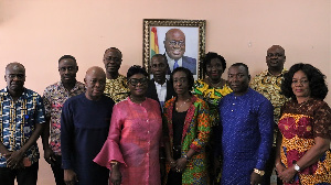 Officials of the Shippers Authority in a group photo with FDA boss Delese Mimi Darko(middle)