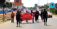 The media men held the demonstration on Friday beginning from GBC
