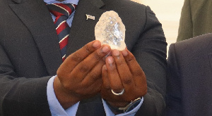 An official displays the 1,098.30-carat diamond in Botswana capital Gaborone