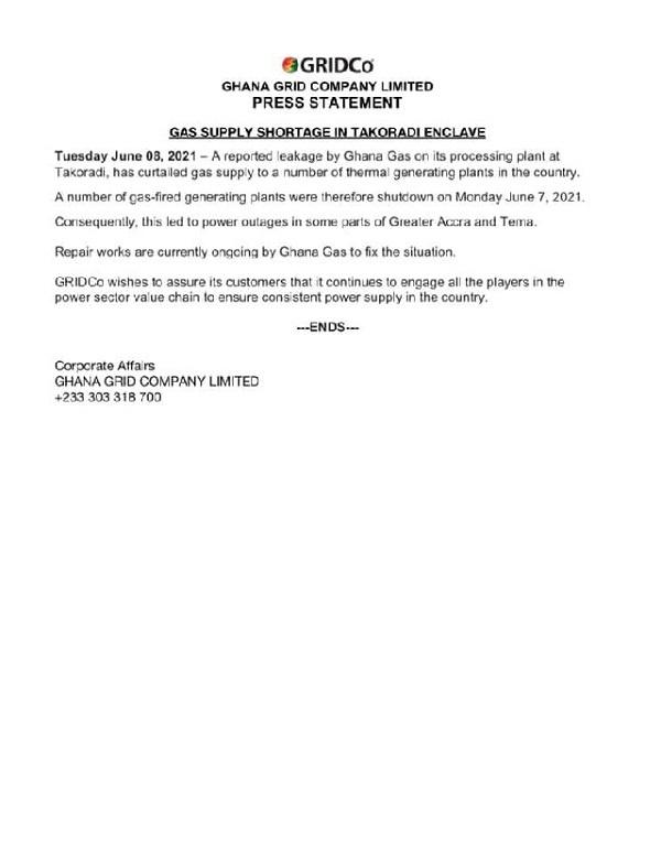 Gas shortage caused Accra, Tema dumsor – GRIDCo. 48