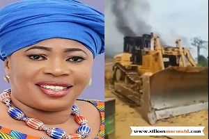 Kate Gyamfua's 8 excavators were burnt by the military taskforce