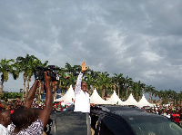 Vice President, Paa Kwesi Bekoe Amissah Arthur addresses party supporters at Obuasi West.