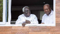 Professor Kwamena Ahwoi,  Executive Member of the Centre for Democratic Transitions (L) with Mahama