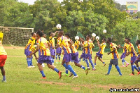 Hearts of Oak team members warming up before a game