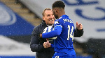 Leicester City striker, Kelechi Iheanacho and coach Brendan Rogers