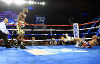 Richard Commey  dropped Ray Beltran four times before the fight was stopped in round eight