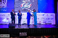 Mrs. Kate Quartey-Papafio receiving her award at the 4th CEO Summit
