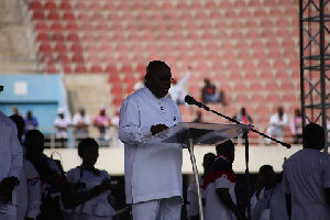 President elect Akufo-Addo on stage at the NPP's Thanksgiving service held at Accra Sports Stadium