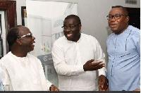 NPP's Sammy Awuku and Freddy Blay with NDC Chairman Samuel Ofosu Ampofo