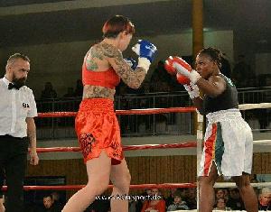 Ghanaian female boxer Yakor Chavez Annan in action