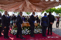 Members of the Freemasonry paying their last respect to the late V.C.R.A.C Crabbe