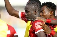 Asante Kotoko striker Dauda Mohammed been mobbed by team mates