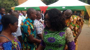 Gloria Akuffo exchanging pleasantries with some residents