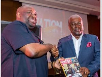 Chief Dele Momodu and President John Dramani at the Launch of the latest edition of the Ovation Maga