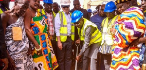 Vice-President Dr Mahamudu Bawumia cutting sod for the Benchema Junction-Adjoafua road