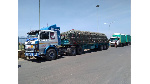 Trucks loaded with maize from Tanzania parked at the Namanga border
